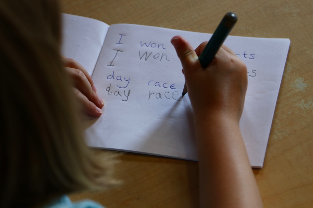 Children practicing handwriting at Mount Carmel nursery in St Albans